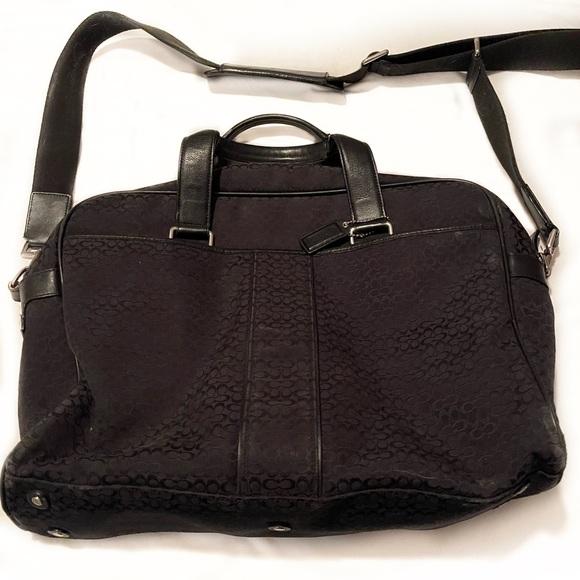 Coach laptop travel briefcase BLK Sig. Jacquard C